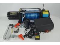 Лебедка электрическая 12V Electric Winch 8500lbs Съемный блок управления, синтетический трос