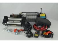 Лебедка электрическая 12V Electric Winch 10000lbs Съемный блок управления, стальной трос.