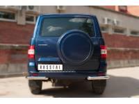 Защита заднего бампера уголки D63(секции) на УАЗ Патриот с 2014г.