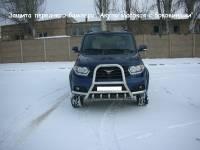 Защита переднего бампера на новый УАЗ Патриот Акула высокая с боковинами (нерж.)